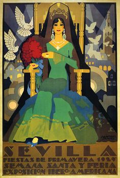 Vintage Travel Poster - Sevilla - Spain - Fiestas de Primavera 1929 :: Semana Santa - Spring Lady.