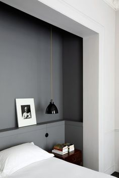 Grey feature wall in white bedroom, built ins? Renovation Inspiration: Make the Most of Your Bedroom with Smart Built-Ins House Design, Interior, Home, Home Bedroom, Bedroom Interior, Bed Nook, House Interior, Bedroom Inspirations, Shelves In Bedroom