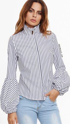 White Vertical Striped Ruffle Collar Lantern Sleeve Blouse