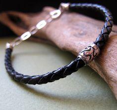 Mens Black Leather Braided Bracelet. Adjustable Mens Bracelet. Elegant Male Jewelry