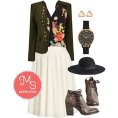 In this outfit: Tulle of the Trade Skirt, Girl About Easton Tunic, I Glam Hardly Believe It Jacket, Tri Me Earring Set, Classic Company Watch, Born to be Styled Hat, Step by Step Inductions Bootie #spring #fashion #outfits #tulle #chic #floral #booties #ModCloth #ModStylist