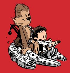 Calvin and Hobbes as Han Solo and Chewbacca.