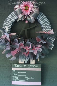 Chevron and pink baby hospital nursery door wreath birth for Baby girl hospital door decoration