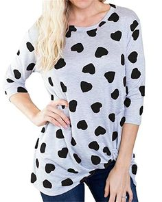 Bbalizko Womens 3 4 Sleeve Tunic Tops Sweet Heart Printing Loose Shirts  Valentines Day Gift e76aabdfb