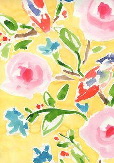caitlinmcgauley.com Art Watercolor, Watercolor Flowers, Illustrations, Illustration Art, Art Vintage, Art Design, Floral Design, Pattern Art, Yellow Pattern
