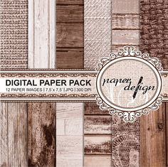 Shabby chic Papers Romantic Vintage Wood Digital