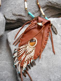 Necklace NATIVE AMERICAN Pouch medicine bag by Minouchkita on Etsy