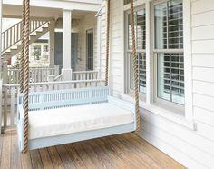 Porch Swing. Blue porch swing painted in Benjamin Moore Kentucky Haze. Porch…