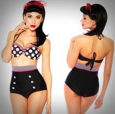 Pinup Swimsuits - Adorable Retro High Waist Nautical Sailor Girl Bikini Swimsuit with Polka Dotted Push-up Bikini Top