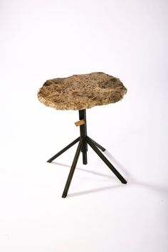 Adjustable Granite End Table  Browned Steel by IndustryMfgCo, $400.00