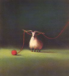 'J.B.Bach's goat and red yarn' by Japanese artist & illustrator Chiho Makino. via the artist's site