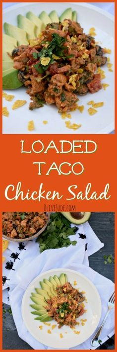 This chicken salad has all your favorite taco toppings and is an easy and flavorful lunch idea. Healthy Recipes On A Budget, Lunch Recipes, Healthy Dinner Recipes, Mexican Food Recipes, Delicious Recipes, Taco Chicken, Chicken Salad Recipes, Salad Chicken, My Favorite Food