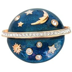 Preowned Swarovski The Moon & The Stars Brooch - Deadstock (29.235 RUB) ❤ liked on Polyvore featuring jewelry, brooches, blue, swarovski brooch, blue star jewelry, preowned jewelry, star brooch and blue brooch