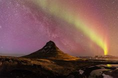 Northern lights at Kirkjufell, Iceland this week. Photo by Jón Hilmarsson [1200x800] - Imgur