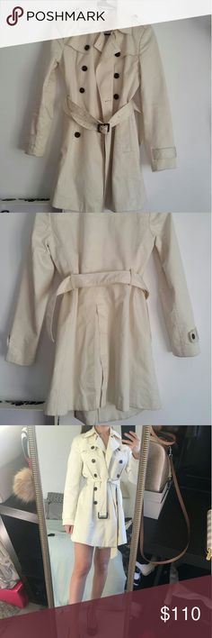 Banana republic cream trench coat Perfect to wear for spring as a coat or even as a dress. 5 buttons that run down the coat, beautiful cream/white color that matches with everything. Banana Republic Jackets & Coats Trench Coats