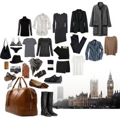 """""""Packing For London"""" by coffeestainedcashmere on Polyvore - capsule wardrobe--well would ya look at that..."""