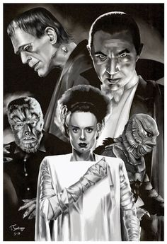 classic monsters compilation fan art by artist tony santiago Retro Horror, Horror Icons, Vintage Horror, Classic Monster Movies, Classic Horror Movies, Classic Monsters, Cool Monsters, Horror Monsters, Famous Monsters