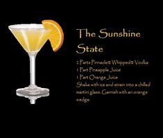 The Sunshine State Pinnacle Vodka Drink Yummy Vodka Drinks, Pinnacle Vodka Drinks, Alcoholic Drinks, Beverages, Cocktail Night, Cocktail Drinks, Martini Party, Martinis, Whipped Vodka