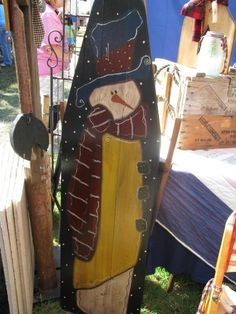 old ironing board Painted Ironing Board, Antique Ironing Boards, Wood Ironing Boards, Painted Boards, Primitive Painting, Tole Painting, Painting On Wood, Wood Paintings, Snowman Crafts