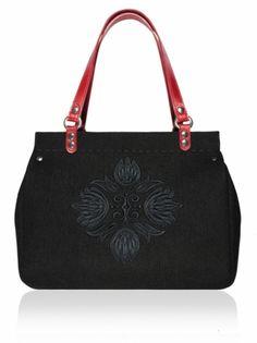 Plstěná vyšívaná kufříková kabelka do ruky ROOS (menší) 1326 Leather Handle, Shoulder Bag, Zip, Destiny, Shoulder Bags, Crossbody Bag