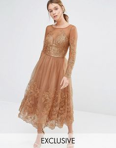 Chi Chi London | Chi Chi London Embroidered Lace Tulle Dress With Long Sleeve