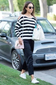 Jessica Alba wearing Vince Varin Sneakers, Louis Vuitton Twist MM Bag and Aqua Stripe Cold Shoulder Sweater