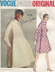 60s Vintage Pattern ~ VOGUE PARIS ORIGINAL ~ PIERRE CARDIN COAT
