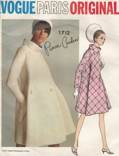 60s Vintage Pattern ~ VOGUE PARIS ORIGINAL ~ PIERRE CARDIN COAT