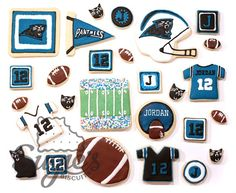 Carolina Panthers: football sugar cookies
