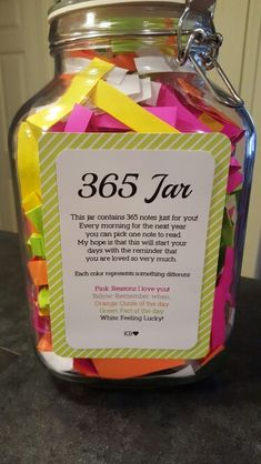 365 Jar - 1 note a day for 365 days. Great gift for an anniversary!