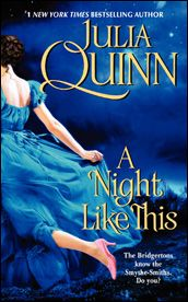 Probably my favorite Regency-Historical Romance author, Julia Quinn, has another book out this May, Yay! She's SOO utterly witty, great at writing, and just wonderful. I pretty much buy her books by default and don't even read the synopsis. I just buy it because she wrote it. I've yet to dislike anything!