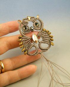 Glaux the Owl, macramè pendant Owl Jewelry, Macrame Jewelry, Macrame Bracelets, Jewelry Design, Unique Jewelry, Tatting Necklace, Beaded Earrings, Macrame Owl, Beaded Boxes