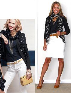 Navy blazer + white skirt