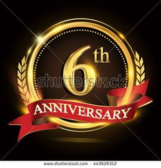 6th golden anniversary logo, 6 years anniversary celebration with ring and red ribbon, Golden anniversary laurel wreath design. - stock vector