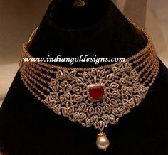 Gold and Diamond jewellery designs: Diamond necklace
