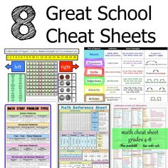 School Cheat Sheets and School Reference Guides - These are the kind of cheat sheets you won't get in trouble for using at school!
