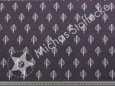 Michas Stoffecke - Stretch-Sweat Cuddly Blätter auf dunkelgrau U0-S-SA-Cuddly600789/63