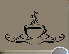 Coffee Mug Wall Decals Coffee Time Coffee Cup Kitchen Cafe Decor Home Interior Design Vinyl Decal Sticker Kids Nursery Baby Room Decor kk196