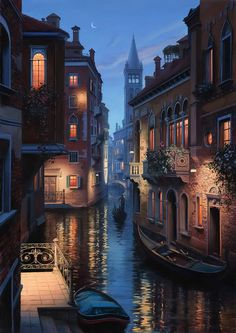 Evgeny Lushpin, An Evening In Venice, oil on canvas