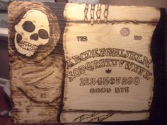 Handmade Wood Burnt Skull Reaper Talking Board