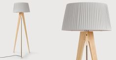 Miller Floor Lamp, Natural Wood and Navy