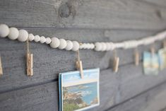 Wooden Garland With Clothes Pins Wood Bead Garland, Diy Garland, Beaded Garland, Garlands, Diy Crafts For Adults, Diy Crafts To Sell, Christmas Card Display, Christmas Bead Garland, Prim Christmas