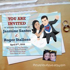 Custom Superhero Portrait Wedding Invitations! RSVP Info Can Go On The  Back. Pictureyourlove.