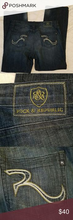 Rock and Republic Jeans Size 40×34  Dark Blue Rock and Republic Jeans Dark Blue Size 40  34 inch inseam 3 button enclosure 2 front and 2 back pockets  20 inch leg opening  Great Condition!! Rock & Republic Jeans Straight