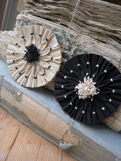 antique French handmade ribbon rosettes millinery couture  - inspiration only