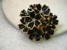Vintage 1940's Domed Floral Brooch, Black Plastic Petals, Rhinestone Petals, Gol #unbranded