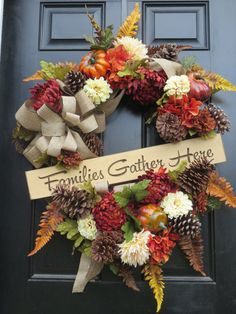 Thanksgiving Door Wreath Fall Autumn Country by hollyhillwreaths