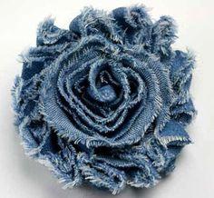 Цветы из джинсовой ткани.  Flowers denim