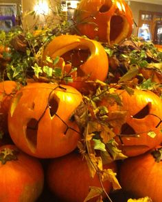 Close up of the pumpkin display in a local hotel in County Wexford,Ireland.