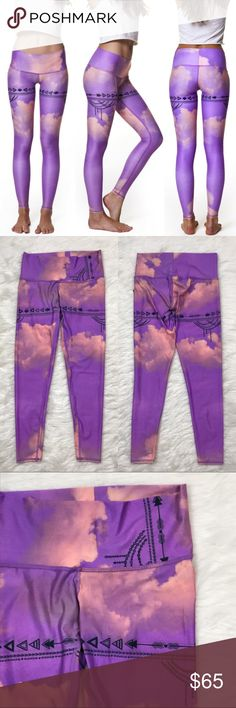 """[Teeki] Purple Haze Hot Pant Yoga Leggings Boho L Teeki Hot Pant. Breathable, chafe resistant legging. Elastic free wide, flat waistband. Can also be worn folded over. Antibacterial fabric. Four way stretch. Made in USA. Love The Adventure print. Purple Haze print. Abstract clouds with arrows graphic design.  Fabric: 79% Recycled P.E.T. 21% Spandex Waist: 15"""" (Lying flat across top) Rise: 8"""" Inseam: 26"""" Condition: NWT. Retail $72.  *I36 Teeki Pants Leggings"""